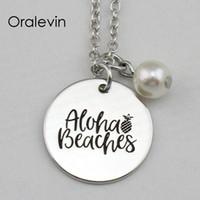 ALOHA BEACHES Inspirador estampado a mano encanto grabado colgante personalizado Collar de cadena femenina regalo Metal estampado joyería, 10 Unids / lote, # LN2218