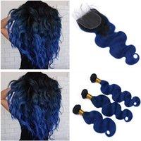 Ön Renkli İnsan Saç Paketler Kapatma Vücut Dalga Bazilian İnsan Saç Kapatma Ile 3 Demetleri 1B Mavi Ombre Renk Demetleri