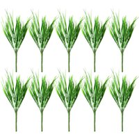 10pcs Plastic 7 Fork Spring Grass Green Artificial Plants Fo...