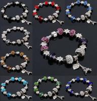9 ألوان الموضة مورانو GlassCrystal الأوروبي سحر الخرز يناسب سحر أساور باندورا نمط سوار المجوهرات عالية الجودة 2168