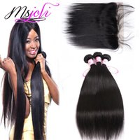 9A Peruvian Virgin Hair Weaves Extensions With 13x4 Lace Fro...