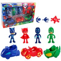 Personaggi PJmasks 4 Figure +3 Arms +3 Cars Catboy Owlette Gekko Giocattolo regalo per bambini per Halloween Birthday Party