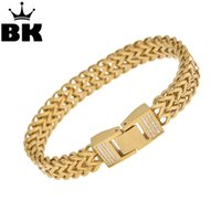 THE BLING KING Stainless Steel Gold Color CZ Franco Box Link...