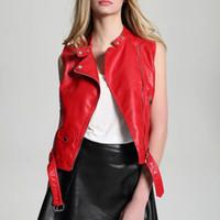 2017 جديد أزياء المرأة الأحمر للدراجات النارية فو الجلود سترة جاكيتات سيدة زيبر أكمام pu صدرية جيليه جلدية