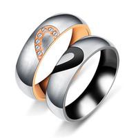 Sua Dela Amor Coração Casamento Promise Anéis Set Titanium Aço Casais Bandas De Noivado para Homens e Mulheres
