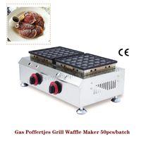 Gaz Hollande Petits Crêpes Poêle 50pcs Poffertjes Grill Gaufre Baker Machine 2 Têtes En Acier Inoxydable Commerciale Brand New