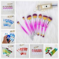 in stock!10pcs set Colorful Removable Makeup Brushes Sets Bl...
