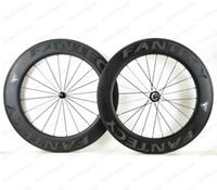 FANTECY! 700C 88mm Tiefe Rennrad Vollcarbonräder 25mm Breite Drahtreifen Rennrad Carbon Laufradsatz mit Powerway R51 Gerade Zugnabe