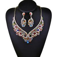 Luxuoso design de marca de multi zircão cristal conjunto de jóias de noiva mulheres strass declaração pingente de colar brincos de jóias