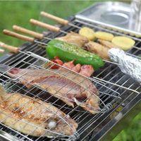 In acciaio inox BBQ Meshes Clip Folder doppio pesce carne a battente cestello Strumento BBQ Strumento manico in legno Barbecue Griglia cestino