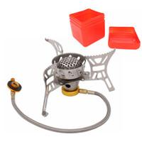 Estufa de gas al aire libre plegable y fresca Estufas para acampar Estufa electrónica de gas portátil con estantes plegables portátiles de caja 3000W