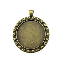 Bandeja 5 Piezas cabujón Camafeo Base Bisel de joyas en blanco Componentes Corazón borde lateral-On Tamaño interno de 35 mm y camafeos cabujones redondos