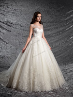 Grace Ivory Tulle Scoop Applique Beads A- Line Wedding Dresse...