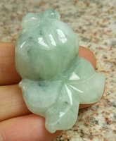 Certified Floral Blue Natural Grade A Jade jadeite Carved Go...