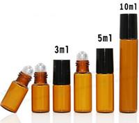 재충전 용 앰버 3ml 5ml 10ml ROLL ON 향수 PERFUME GLASS BOTTLES ESSENTIAL OIL 병 롤러 금속 공 DHL 공 1300 무료 배송