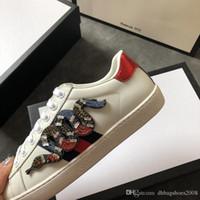 Kristall Schlange Sneaker Herren Freizeitschuhe echte Leder männliche  Turnschuhe Luxusmarke Modedesigner Schuhe für Frauen mit Box Größe 38-46 5e10143d16