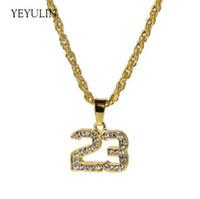 Новый Полный Кристалл Хип-Хоп Баскетбол Легенда Номер 23 Ожерелья Подвески Bling Золото Кубинский Цепи Ожерелье Ювелирные Изделия Для Мужчины