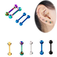 Punk Ear Cartilage Tragus Earring 16G Stainless Steel Labret...
