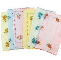 12 pcs 100% algodão flor impressão Vintage mulheres lenços Quadrate Hankies