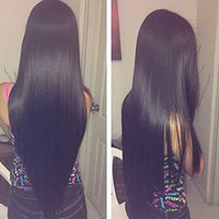 Charming Natural Black Long Silky Straight Full Lace Wigs wi...