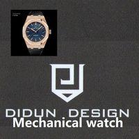 DIDUN Männer Uhren Top Mechanische Automatik Uhr Rosegold Male Fashion Business Watch Lederband Armbanduhr