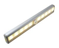 Luzes do armário do sensor de movimento, sem fio sob isca de gabinete, stick-on em qualquer lugar, bateria sem fio operada 10 LED Night Light Bar R