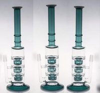 Real Image Straight GLASS Bong with Bowl Green Three Layers Percolatos Thick Heady Smoking Hookahs Glass Water Pipes Two Function Oil Rig