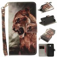 Samsung Galaxy J520 J5 2017ケースCoque Animal Wolf Tigerライオン塗装レザー電話バッグアクセサリーカバー