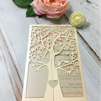 Laser Cut Tree Design Light Gold Pearl Invitation Card Whole...