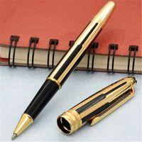 高品質の新しい黒とゴールドストライプローラーボールペン/ボールペンの噴水ペン卸売ギフト送料無料