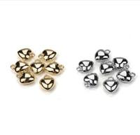 100 teile / los 1,15 * 1,4 cm CCB Material Gold Rhodium Herz Ende Perlen Schmuck Erkenntnisse Für DIY Armband Halskette Schmuck machen