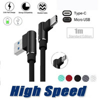 Mobiltelefonkabel 90 Grad Micro USB-Kabel 1m 2m 3M 2A Schnellladekabel Geflochtene Typ C-Datenzeile für Samsung S10 S9 S8 S7 Note8 Anmerkung 20 Smartphone Android-Telefone