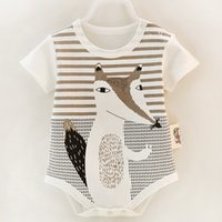 Cotton Short Sleeve Baby Rompers Print Newborn Infant Clothi...