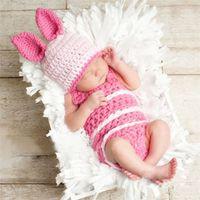 New Bunny Rabbit Neonato Abbigliamento per bambini Fotografia Puntelli Suit Con Cappello Easter Rabbit Infant Baby Foto Prop Crochet Photography Puntelli