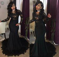 Siyah Mermaid Abiye Illusion Uzun Kollu Aplike Dantel Balo Parti Elbise 2018 Ucuz Örgün Abiye giyim Custom Made