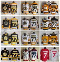 2010 년 동계 클래식 보스턴 브루 인스 레이 보케 하키 유니폼 75 주년 기념 # 77 레이몬드 우르 큐 빈티지 블랙 스티치 셔츠 C 패치