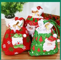Christmas Gift Bags Santa Sacks Lot Xmas Drawstring Canvas B...