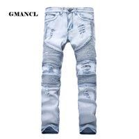 Patchwork para hombre Skinny Jean Jeans elásticos delgados desgastados Denim Biker Jeans Hip Hop Pantalones Washed Ripped Jeans Plus Size 28 -42