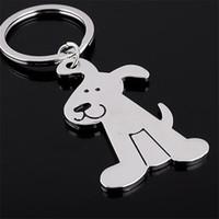 Alloy Cute Dog Silber Farbe Schlüsselbund Schlüsselanhänger Tier Schlüsselanhänger Personalisierte Hund Werbung Geschenk Frauen Tasche Charms Schlüsselanhänger Zubehör
