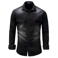 Denim Washed Shirts Men Long Sleeve Male Leisure Dress Shirt...