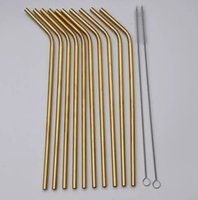 High Quality 304 Gold rose gold Stainless Steel Straw Reusab...