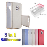 Fashion 3 in 1 glitter case tpu + glitter film + pc hybrid a...