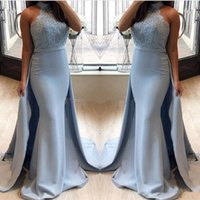 2018 Nova Sereia Vestidos De Noite Com Saia Destacável Sexy Halter Lace Applique Formal Prom Party Dress Evening Gowns Vestido De Dama De Honra
