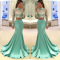 Two Pieces Prom Dresses Illusion Mermaid Evening Dresses She...