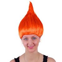 Kırmızı kabarık alternatif Avrupa ve Amerikan peruk Cosplay Saç kişilik tatil alev Saç Cadılar Bayramı peruk Troll Festivali peruk