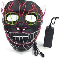 Светодиодные Хэллоуин маски партии маски EL провода светящаяся Маска черный Маскарад день рождения Маска карнавал косплей кошки маски освещенные игрушки GGA1274