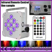 سخونة RGBWA + الأشعة فوق البنفسجية 6 في 1 تعمل بالبطارية اللاسلكية dmx أدى أضواء قدم المساواة مع تحكم الأشعة تحت الحمراء شاشة LCD 9 * 18W