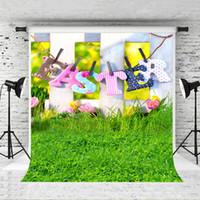 어린이 파티 사진 스튜디오 드림 5x7ft 봄 부활절 사진 배경막 나무 울타리 잔디 사진 배경 녹색 초원 배경 화면
