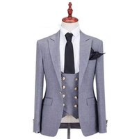 Grey Men Suits for Wedding Groom Tuxedos Peaked Lapel Custom...