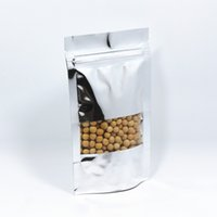 Встаньте 12 * 18 см 50 шт. / лот Термосвариваемая алюминиевая фольга молния упаковка мешок пищевой майлар Ziplock мешок упаковка пакет мешок с прозрачным окном